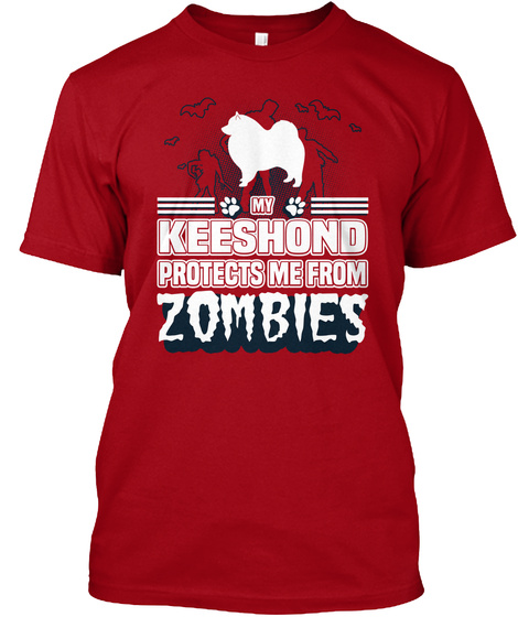 Keeshond Deep Red T-Shirt Front