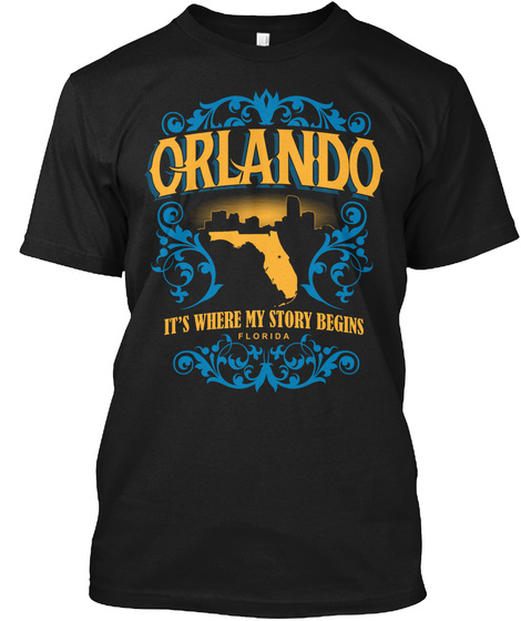 Orlando It's Where My Story Begins Florida Black T-Shirt Front