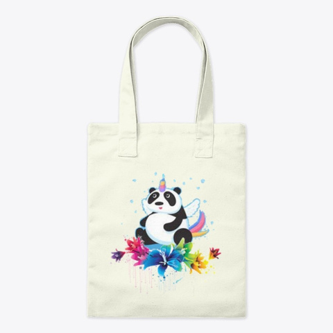 Flower Flying Panda Natural T-Shirt Front