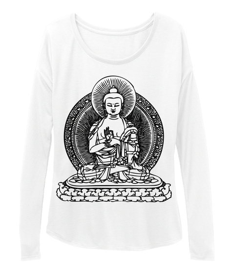Buddha Slouchy Long Sleeve White T-Shirt Front