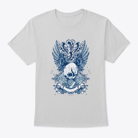 Cool Gothic Skull   Awesome Skull Lover  Light Steel T-Shirt Front