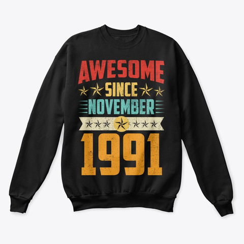 Awesome Since November 1991 Shirt Black T-Shirt Front