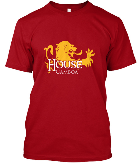Gamboa Family House   Lion Deep Red T-Shirt Front