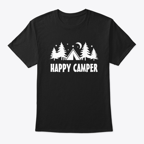 Happy Camper T Shirt Black T-Shirt Front