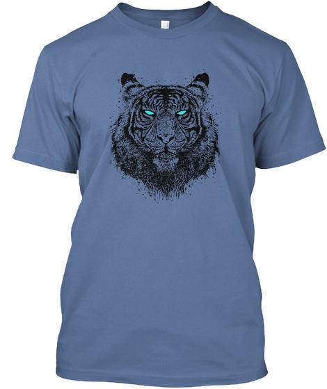 Tiger Gaze   Blue Denim Blue T-Shirt Front