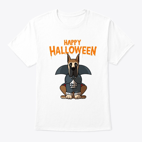 Happy Halloween Great Dane Dog Lover White T-Shirt Front