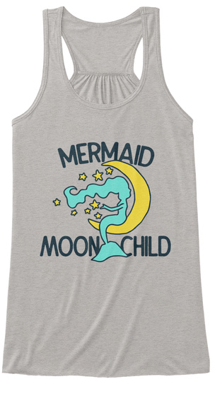 Mermaid Moon Child Tank Tops Athletic Heather T-Shirt Front