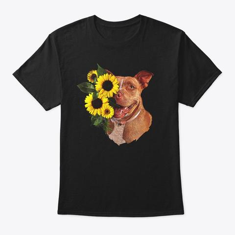 Comic Sunflower Pit Bull Lover Gift Black T-Shirt Front
