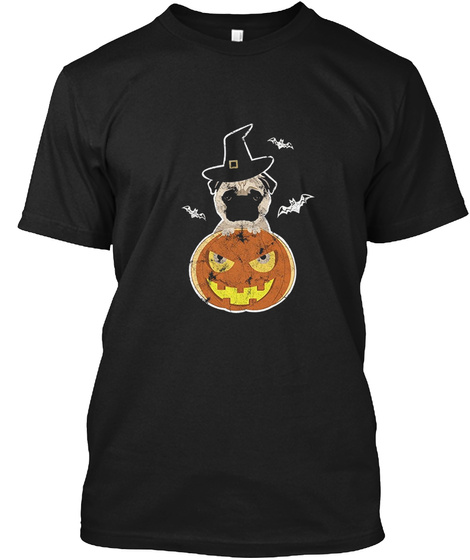 Funny Dog Pug Halloween Shirt Black T-Shirt Front