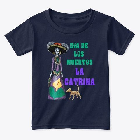 La Catrina Dia De Los Muertos Navy  T-Shirt Front