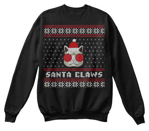 Santa Claws Black Sweatshirt Front