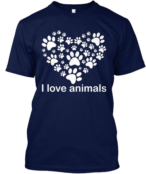 I Love Animals Navy T-Shirt Front
