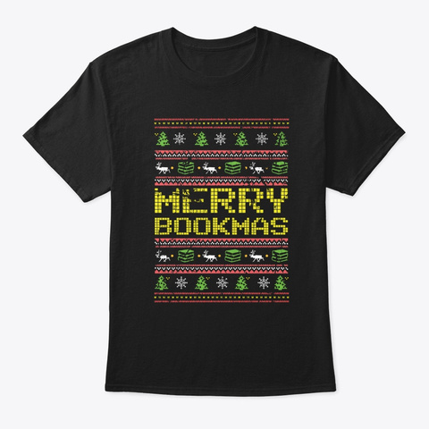 Funny Distressed Merry Bookmas Black T-Shirt Front