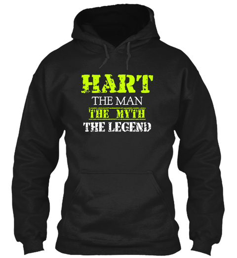 Hart The Man The Myth The Legend Black T-Shirt Front