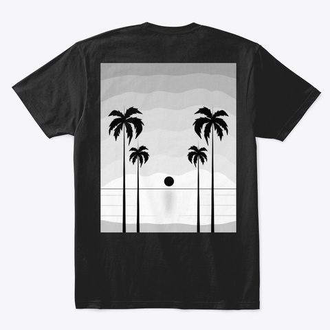 Coconut Tree Landscape Black T-Shirt Back