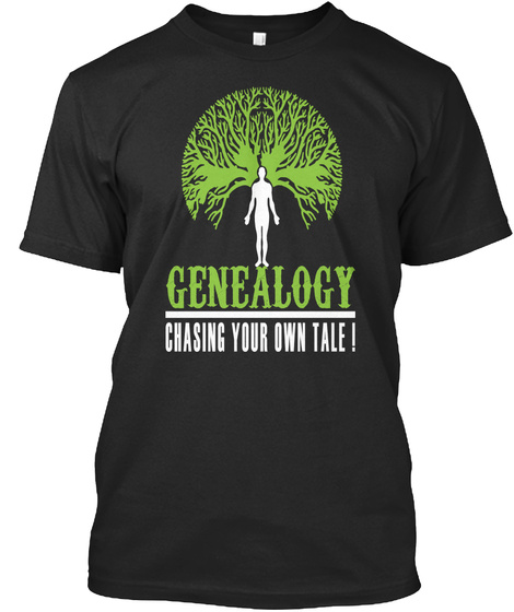 Genealogy Chasing Your Own Tale Black T-Shirt Front