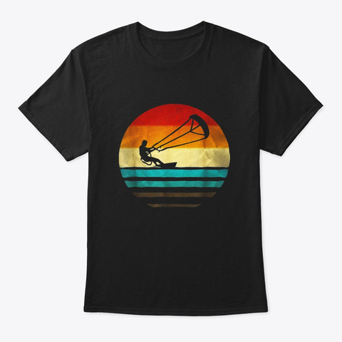 Kiteboarding Shirt Retro Vintage Black T-Shirt Front