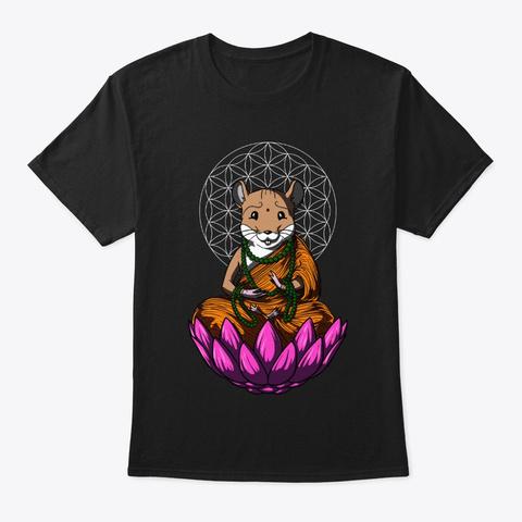 Hamster Mouse Zen Yoga Black T-Shirt Front