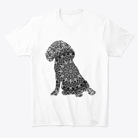 Mandalic Dog White T-Shirt Front