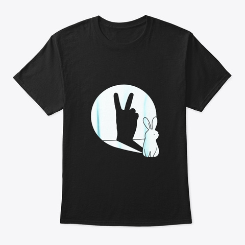 Funny Bunny Hand Shadow Puppet T Shirt Black T-Shirt Front