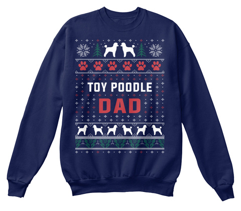 Toy Poodle Ugly Christmas Sweater Navy  T-Shirt Front