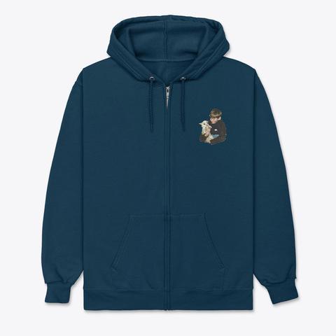 Moon Boy W Dog Navy T-Shirt Front