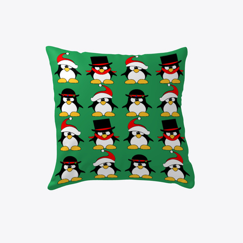 Penguins With Hats Christmas Pillow Green T-Shirt Front
