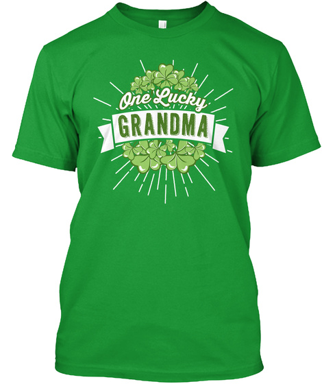 One Lucky Grandma  Kelly Green T-Shirt Front