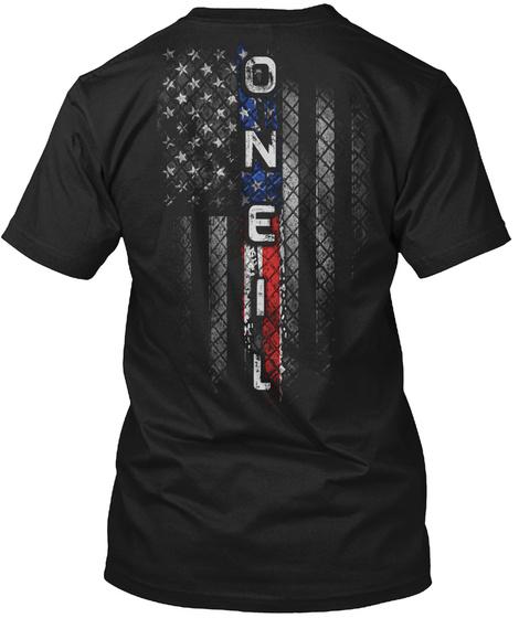 Oneil Family American Flag Black T-Shirt Back