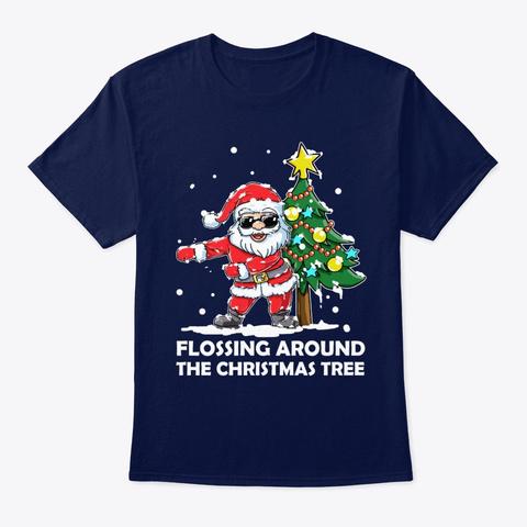 Santa Flossing Around The Christmas Tree Navy T-Shirt Front