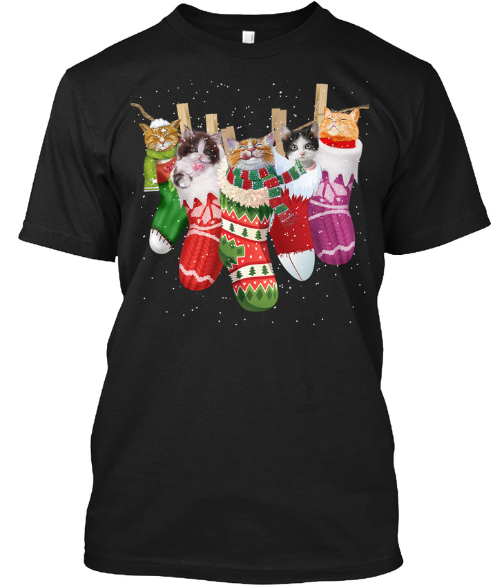 cat sock merry christmas hanes tagless tee