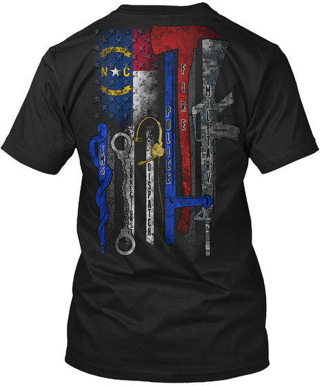 Ems Corrections Dispatch Police Fire Military Black T-Shirt Back