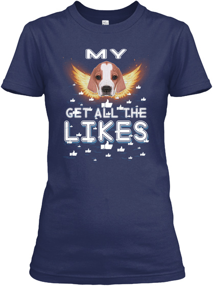 English Pointer Get All The Likes Navy T-Shirt Front