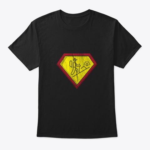 Hiking Vintage Style   Wanderlust Lover  Black T-Shirt Front