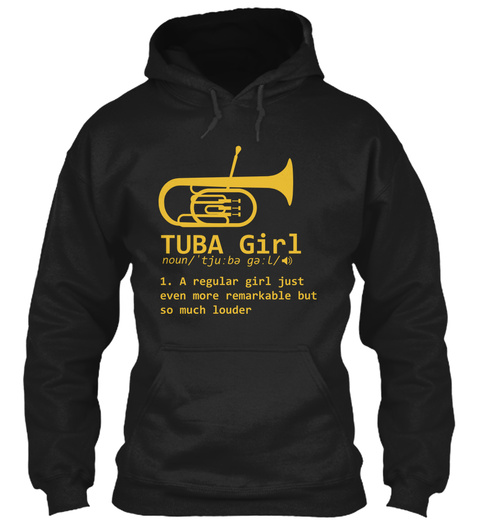 Tuba Girl Definition Funny Marching Band Black T-Shirt Front