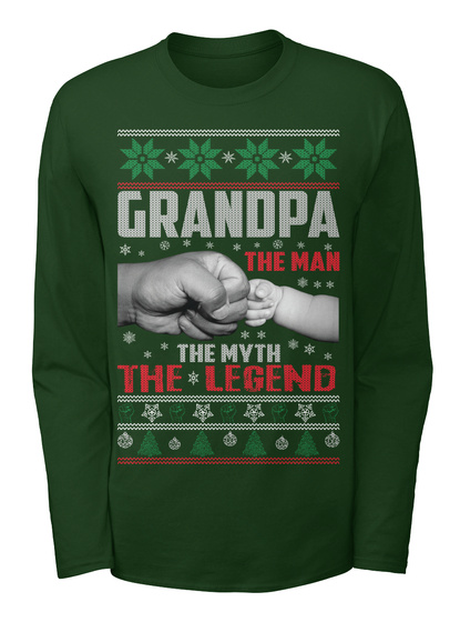 grandpa the man ugly christmas sweater forest long sleeve t shirt front - Best Christmas Sweater