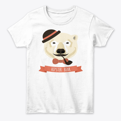 Hipster Bear Tee White T-Shirt Front