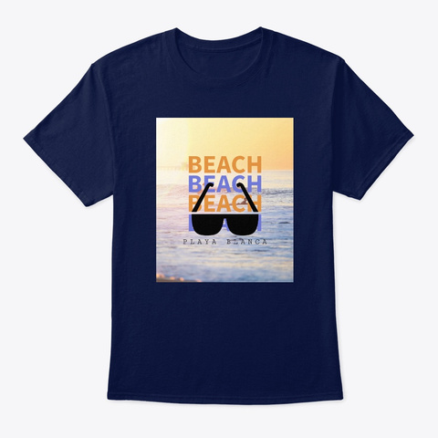 Beach Beach Playa Blanca  Navy T-Shirt Front