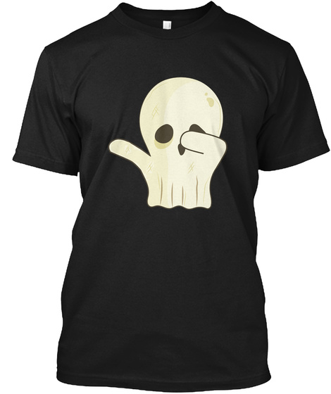 Dabbing Ghost Halloween T Shirt Black Kaos Front