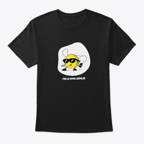 I'm A Cool Emoji Black T-Shirt Front