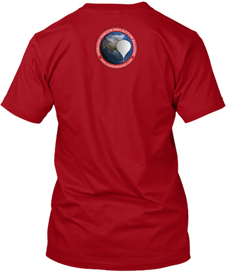 Overlook Horizon High Altitude Balloons Www.Overlookhorizon.Com Deep Red T-Shirt Back