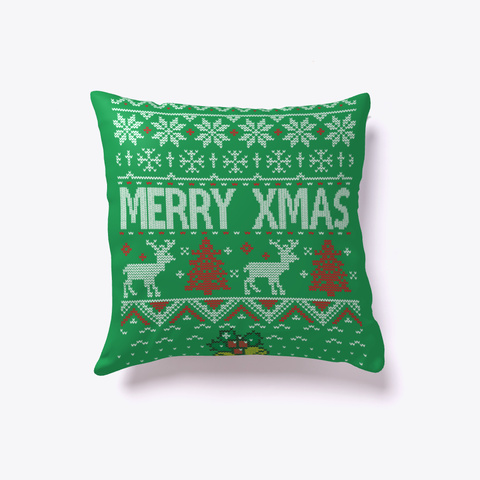 Merry Xmas Pattern Green T-Shirt Front