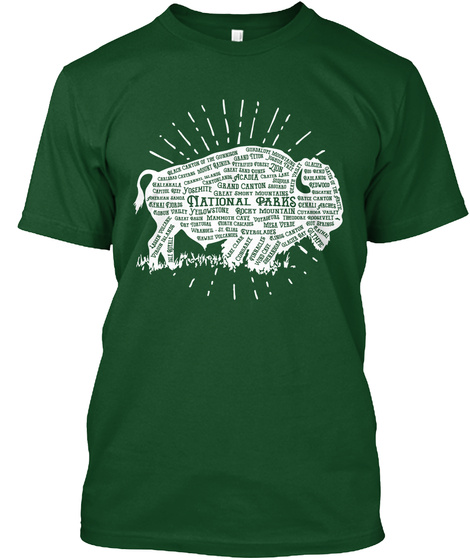 59 National Parks   American Bison Tee Deep Forest T-Shirt Front