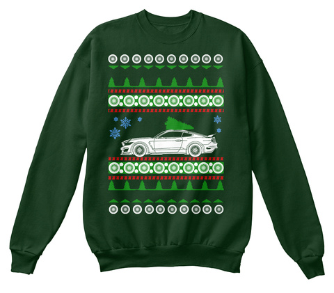 Shelby Gt350 R Ugly Christmas Sweater Deep Forest  T-Shirt Front