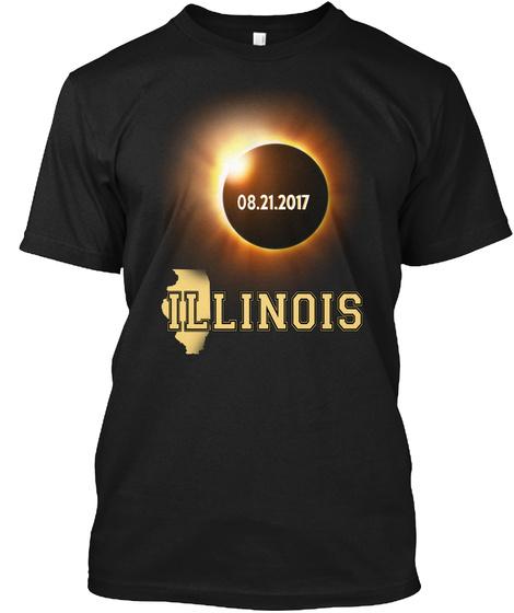 Eclipse Illinois  2017. Customizable City Black T-Shirt Front