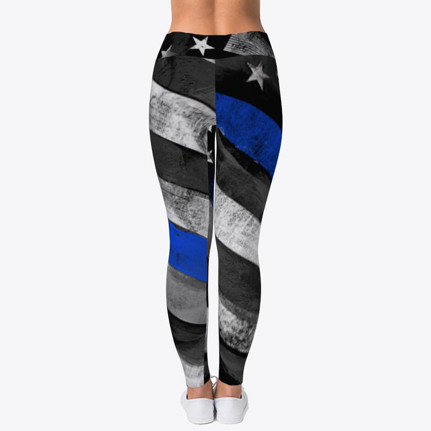 2006d3255b Thin Blue Line Comfort Women's Print Fitness Stretch *Leggings* Yoga ...