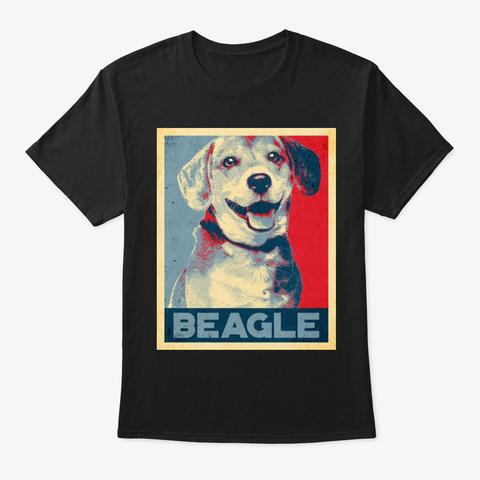 Cool Beagle Propaganda Poster Style Black T-Shirt Front