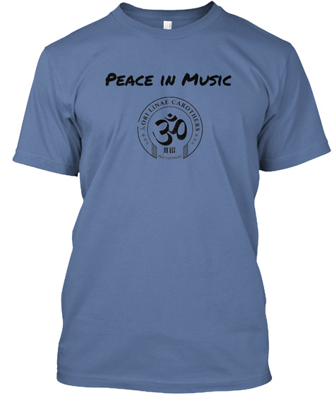 Peace In Music  Denim Blue T-Shirt Front