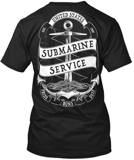 Ear United States 1900 Submarine Service Pride Runs Deep Black T-Shirt Back