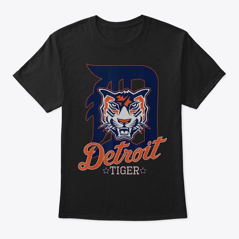 Tiger Face Wild Animal Detroit Michigan  Black T-Shirt Front